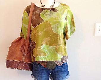 Vintage Earthy Batik Boho Top
