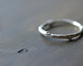 Simple Twig Ring - Sterling Silver - Made To Order Any Size