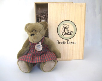 Bonita Bear, Tessica Bonita Bear , collector bear, stuffed animal, stuffed bear, limited edition bear,vintage stuffed bear, Vintage Bear