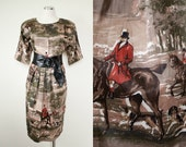 1940s vintage America Equestrian Novelty print dress British Polo player / Polo dogs / horse riding / racing - handmade OOAK SIZE LARGE