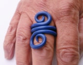 Dubble blue curl snake ring/ flexible polymer/ big size/ easy to put on ring or middle finger