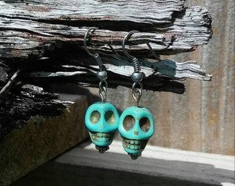 Turquoise skull beaded earrings
