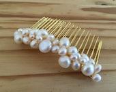 Cream white fresh water pearl Bridal wedding hair comb accessories