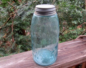 masons patent 1858 half gallon fruit jar with zinc lid, port 5 marked on bottom