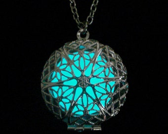 Round Locket Necklace Glow In The Dark Necklace Round Locket Jewelry Silver (glows aqua blue)