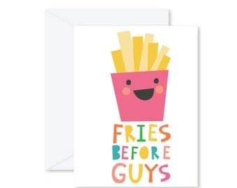 GREETING CARD | Fries Before Guys  : Junk Food Modern Illustration Art