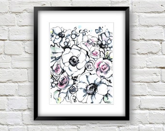 Modern Floral Art Print, Black, White and Pink Flowers
