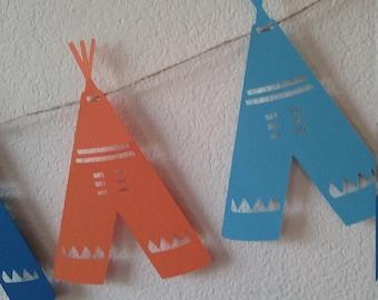 Tribal Tee-Pee Banner- Tribal Baby Shower-Tribal Tee-Pee Birthday Banner-Tribal photo prop