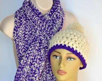Keyhole scarf, Purple scarf set, Beanie hat, Winter hat, Winter neckwarmer, Crochet hat set, Winter accessory, Chunky scarf, Gift under 40
