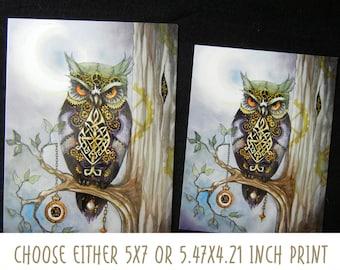 Clockwork Owl 1  Watercolor  prints by Valerie Flynn