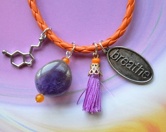 Biolojewelry - Serotonin Neurotransmitter Molecule Tassel Amethyst Breathe Charm Bracelet
