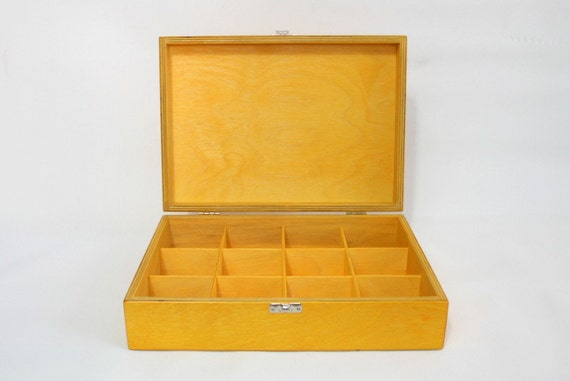 Yellow Wooden Tea Box / 12 Compartments Box / Keepsake Box / Jewelry Box / Storage Box