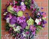 Extra Large Purple Clematis Spring Garden Wreath, Tulip, Wisteria, Orchid, Pink, Hydrangea, Cottage, Summer