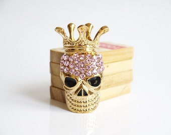 1PCS Fashion Pink Crystal Golden Skull-Head Flatback Alloy jewelry Accessories materials supplies