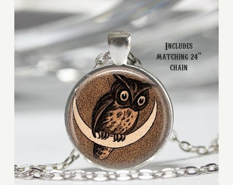 Owl Necklace, Bird, Orinthology Jewelry, Art Pendant, chain included X203
