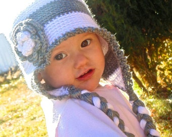 Crochet Earflap Hat Gray and White with Braid