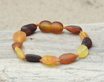 Amber Teething Anklet  - Bracelet - Safety Knotted - Authentic Amber