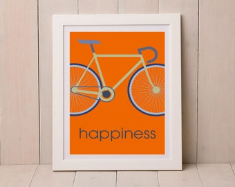 Road Bike Print, Print for Cyclist, Graphic Print, Gift for Cyclist, Cycling Print,
