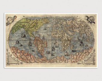 Old World Map Art Print 1565 Antique Map Archival Reproduction