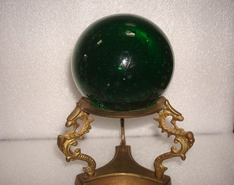 Vintage Brass Dragon Stand With Green Glass Sphere / Asian Decor / Dragon Decor