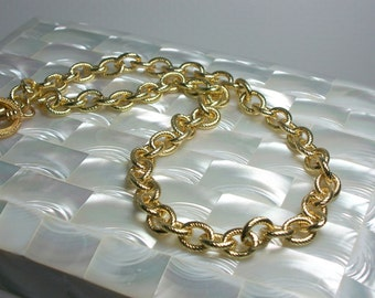 Chain Necklace Textured Small Oval Link Gold Plated Brass Chain Hypoallergenic 17 Inch Jewelry Jewellery Simple