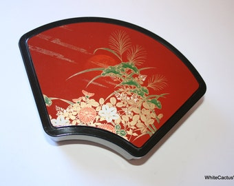 Made in Japan, Toya Brand Bento Lunch Box, Laquered Black Container - Lid, Red with Flower Handpaint Accent, Sushi Jewelry Box Asian Style