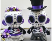 Day of the Dead (Dia de los Muertos) Munny Wedding toppers *Custom Order- Purple and Silver/Gray*