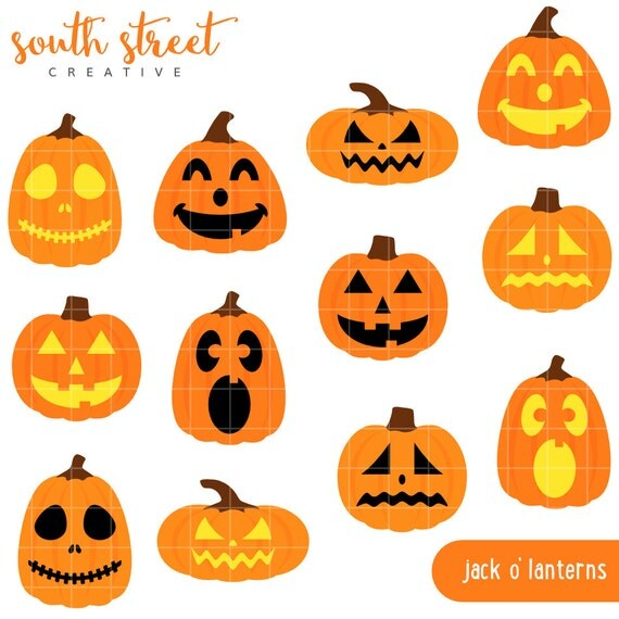 SALE! Jack O Lanterns, Pumpkins, Halloween, Cute Clipart ...