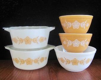 Pyrex Butterfly Gold Collection Mixing Bowls, Casseroles