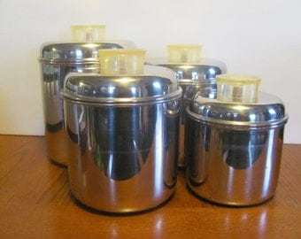 Set of 4 Stainless Steel Canisters Revere Ware Lucite Handle