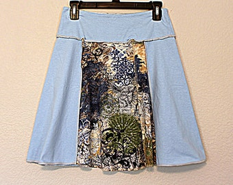 Eco Women's Clothing Recycled T Shirt Skirt Funky Boho Hippie Clothes Junior's Ladies Size Medium