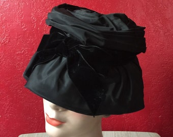 Vintage Black Taffeta Hat with Velvet Bow by Doree