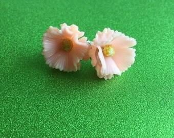 Pink Flower Vintage Screw-back Earrings