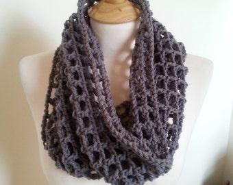Woman's crochet infinity gray cowl scarf neckwarmer