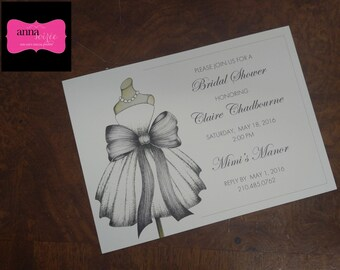 INVITATION - Dress with large bow - great for Bridal Showers, Sweet 16 and more! All wording, fonts, and font colors Customized