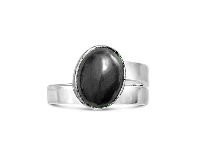 Hematite and Sterling Silver Adjustable Ring