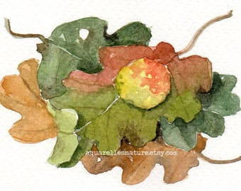 Oak leaves, miniature original watercolour painting, aceo