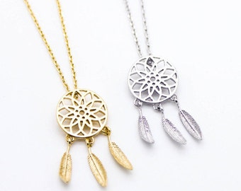 "Tiny Gold or Silver ""Dream Catcher"" Necklace - Dainty, Simple, Birthday Gift, Wedding Bridesmaid Gift"