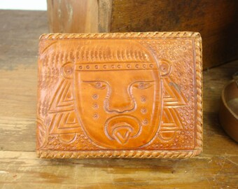 1970s Tooled Leather Mens Wallet Brown Western Style Hand Tooled Mexican Leather Billfold with Aztec or Mayan Head & Nopales Cactus Designs