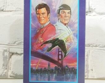 On Sale Price Vintage Star Trek IV VHS Tape. The Voyage Home.  Captain Kirk. Spock. Bones. Sulu. Chekov. Uhura. Man Cave Decor. Trekkie Nost