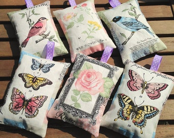 VIntage birds and butterflies lavender bags