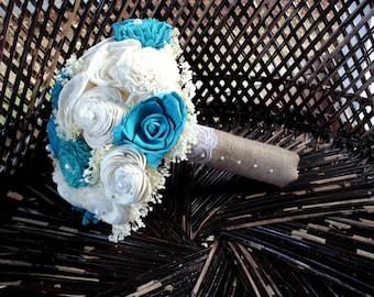 Turquoise and cream bridal bouquet | sola bouquet | rustic bouquet | rustic wedding | keepsake bouquet | alternative bouquet