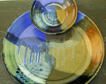 Large Chip and Dip in my new Red,Blue,Black and Purple combination glaze....