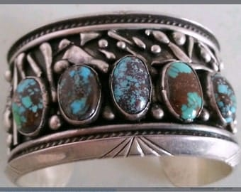 Old Pawn Spiderweb Turquoise Cuff by Renown Cochiti Native American Artist Jerry Quintana; Wrist Size 6""