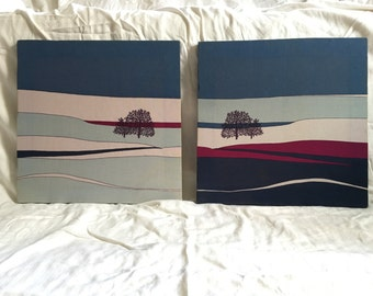 Marüshka style, silkscreen on canvas - set of two
