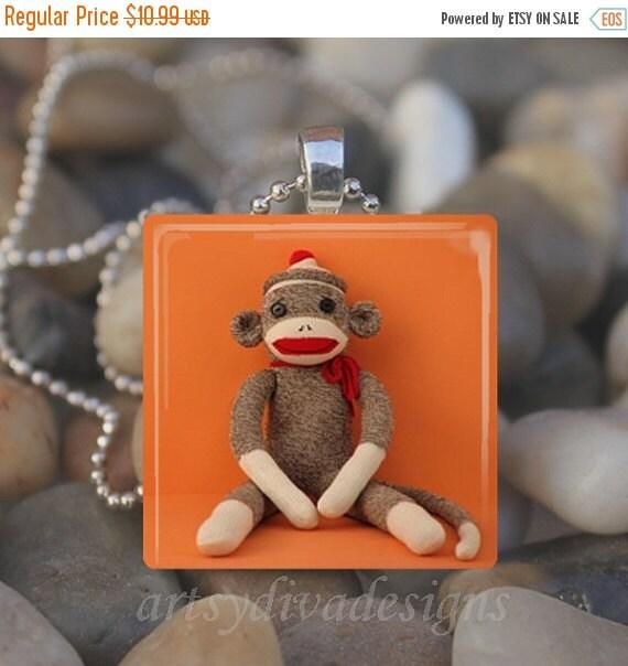 15% OFF AUGUST SALE : Sock Monkey Vintage Toy Doll Glass Tile Pendant Necklace Keyring
