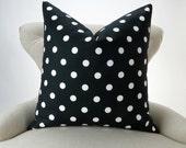 Black and White Polka Dot Pillow Cover -MANY SIZES- decorative throw euro sham custom couch cushion premier prints
