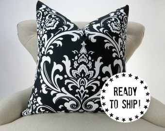 """Ready to Ship! Black Pillow Cover, Black and White Decor, Throw Pillow, Damask, Ozborne by Premier Prints, for an 18x18"""" pillow, zippered"""