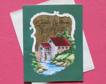 Vintage Rust Craft Father's Day Card - For the BEST of DADS - Unused - Water Mill Scene - 1950s