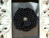 Black and White Hair clip with a beautiful pearl and rhinestone center
